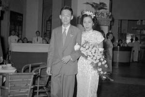 Mr Lee Kuan Yew and wife wedding